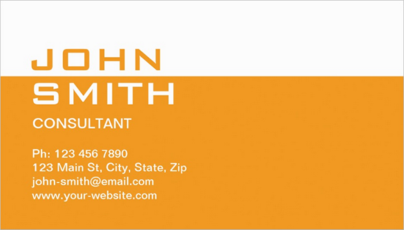 premium orange business card for consultant