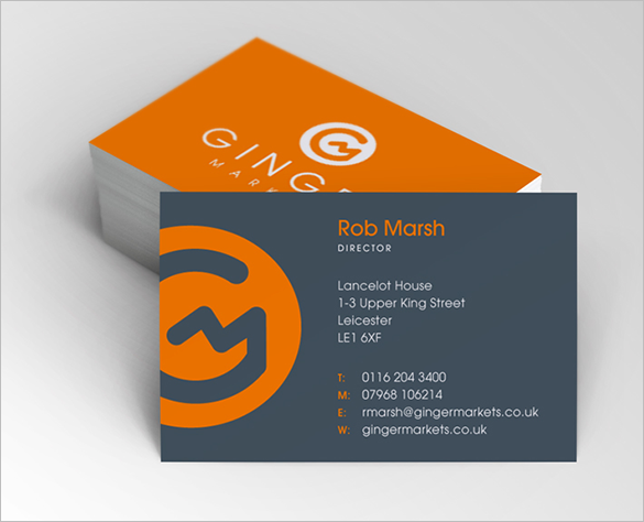 orange business card for director