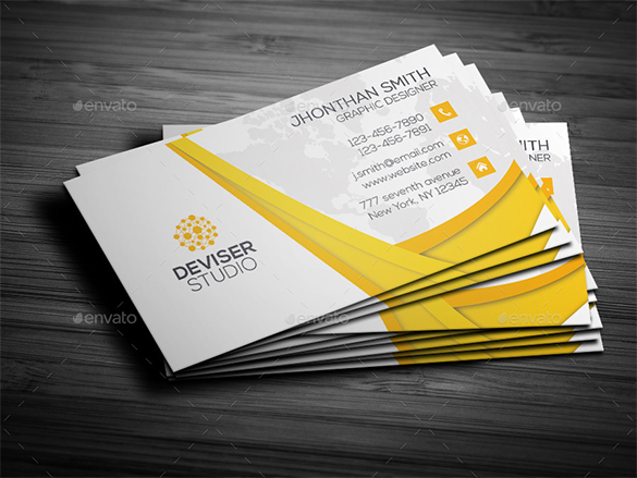 20 yellow business cards free printable psd eps word pdf premium graphic designer yellow business card reheart Images