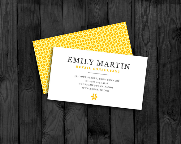 retail consultant yellow business card