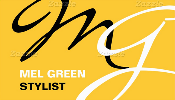 yellow black modern stylist business card