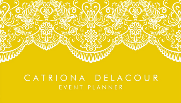 event planner yellow business card