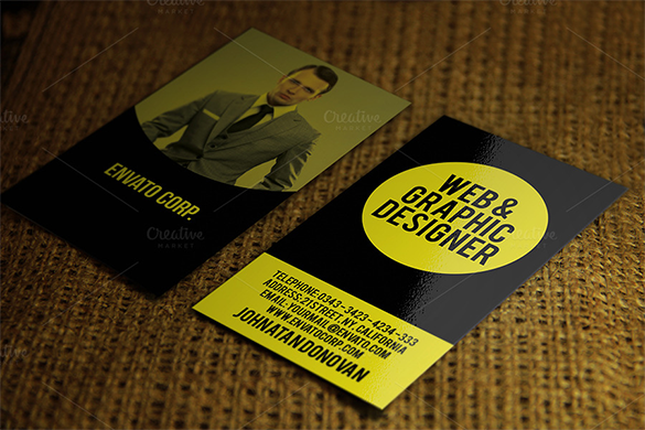 premium web designer yellow business card
