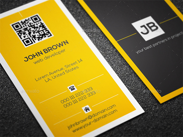 web developer premium yellow business card