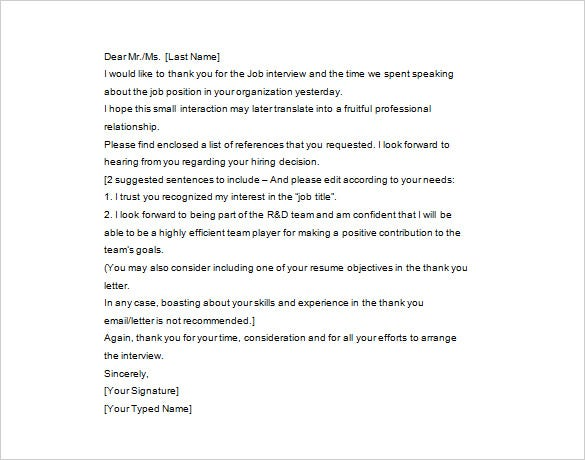thank you letter after interview  u2013 12  free sample  example format download