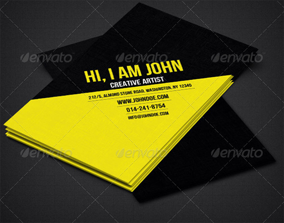 creative artist premium yellow business card