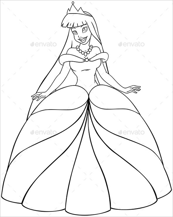 21 Princess Coloring Pages Free Printable Vector Eps Princess Stencil Free Coloring Sheets