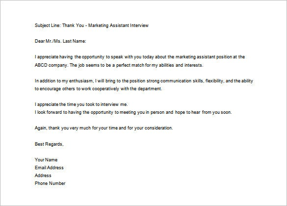 Thank You Letter After Interview 10 Free Sample