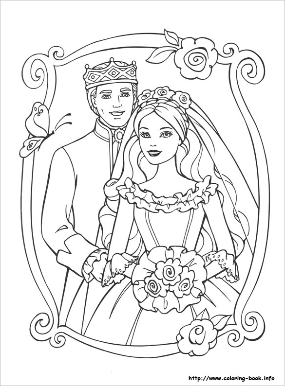 barbie the princess colouring page for you