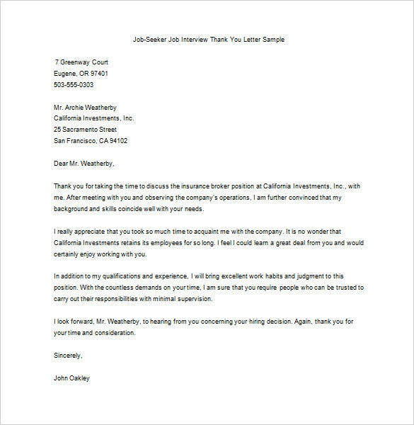 Editable Job Seeker After Interview Thank You Letter Sample