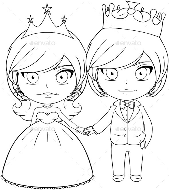 premium prince and princess colouring page