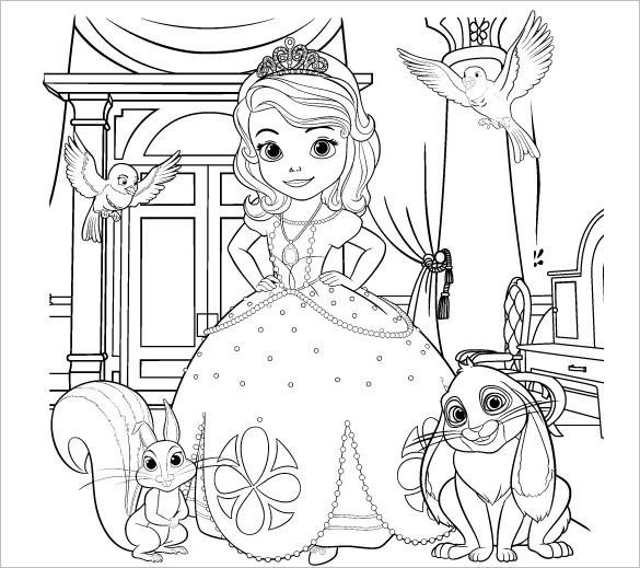 beautiful printable princess colouring page for free