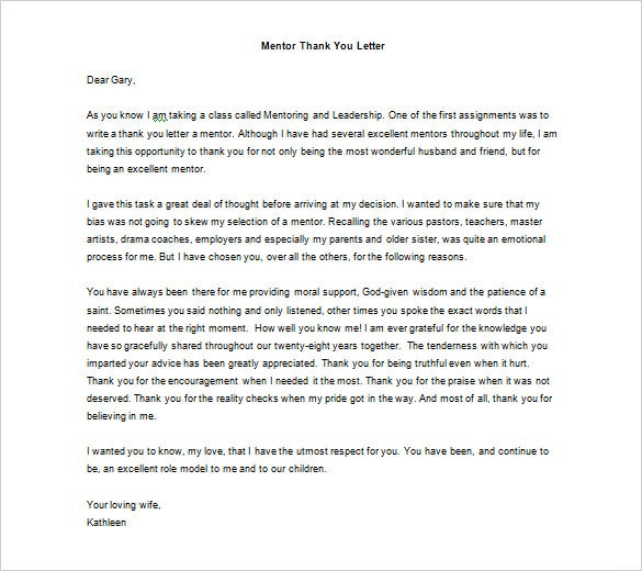Thank You Letter To Mentor   Free Sample Example Format