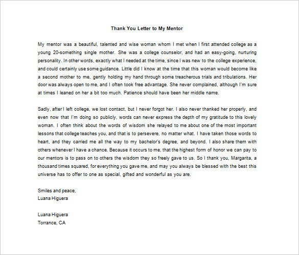 thank you letter to mentor example download