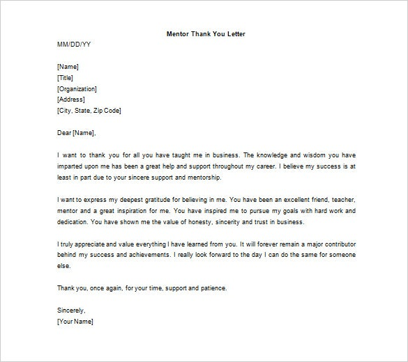 free mentor thank you letter word doc example