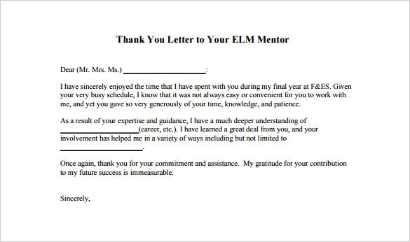 thank you letter to mentor  u2013 9  free sample  example