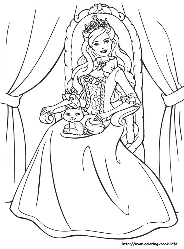 20 Princess Coloring Pages Vector