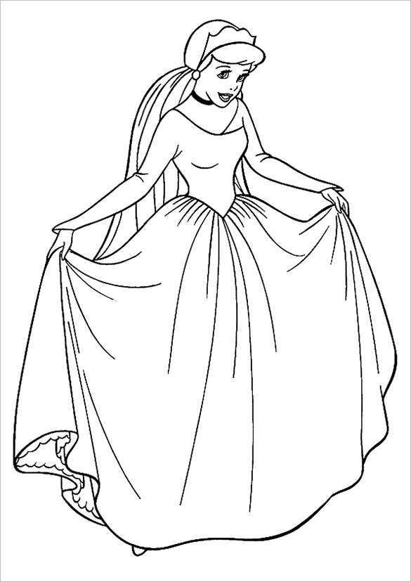 cinderella the princess colouring page