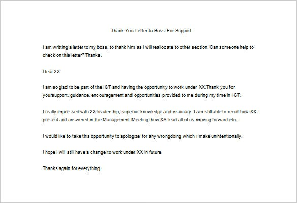 20 thank you letter to boss templates free sample. thank you for ...
