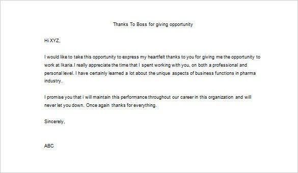 sample thank you letter to boss for opportunity