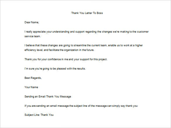 20 Thank You Letter To Boss Templates – Free Sample Example