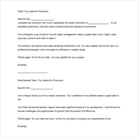 thank you letter to boss for promotion sample download