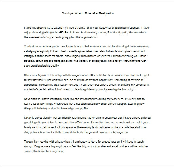 Captivating Free Sample Thank You Letter To Boss After Resignation And Thank You Letter To Boss