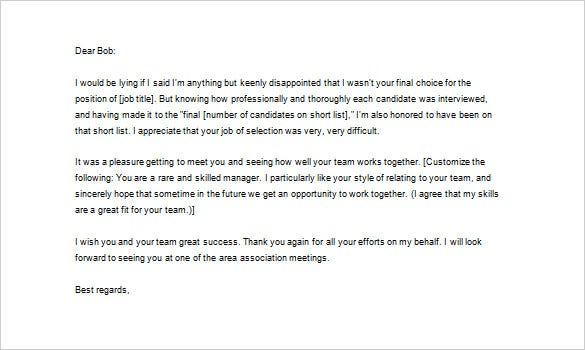 sample thank you letter after phone interview rejection word format