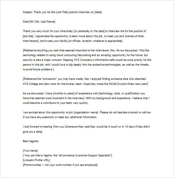 9 thank you letter after job interview doc pdf free for Interview call letter template