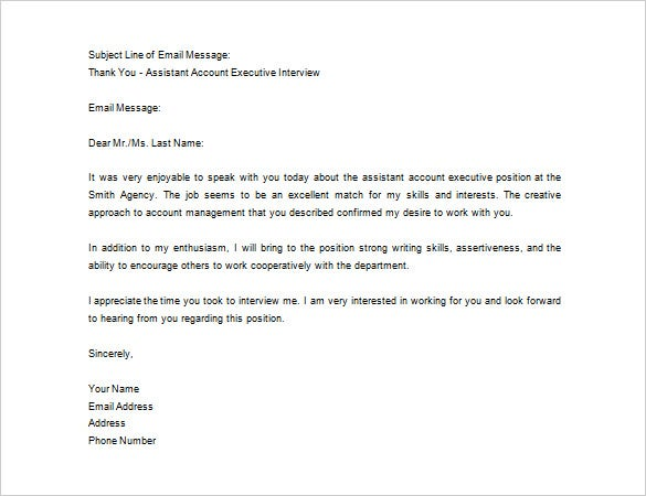 sample thank you note for interview