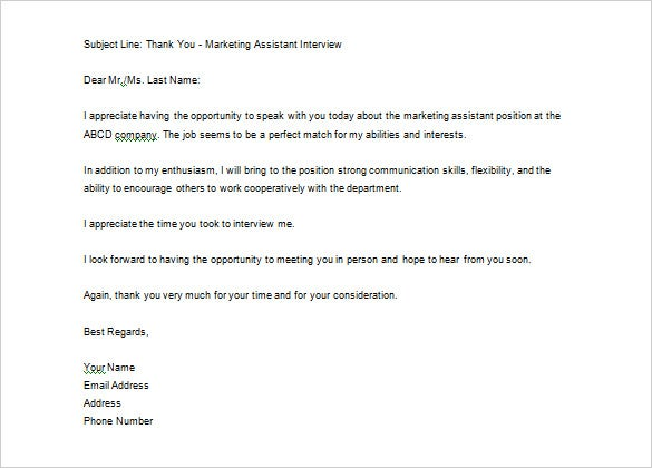 job interview thank you email sample