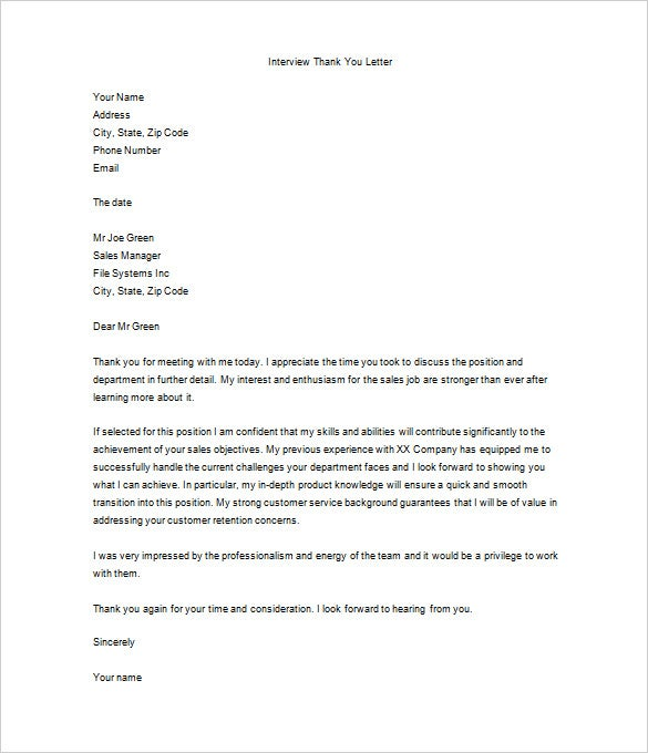 Thank You Letter After Job Interview 10 Free Sample Example – Thank You Letter Format Example