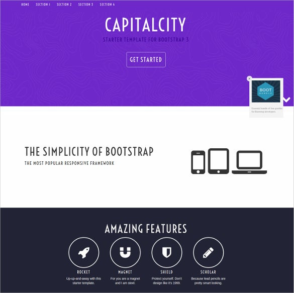 smooth single page app style free bootstrap theme