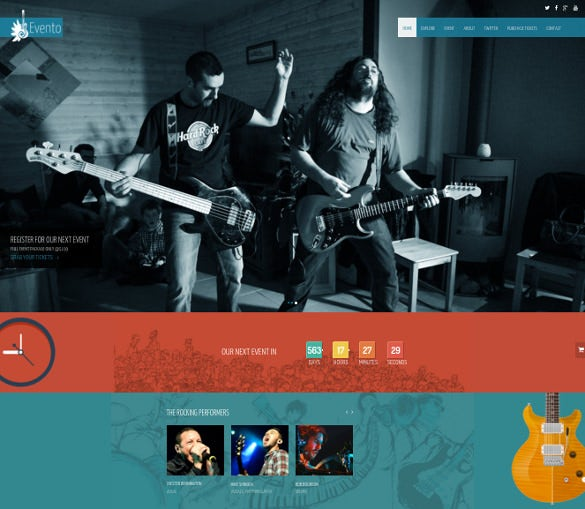 free one page music event bootstrap template