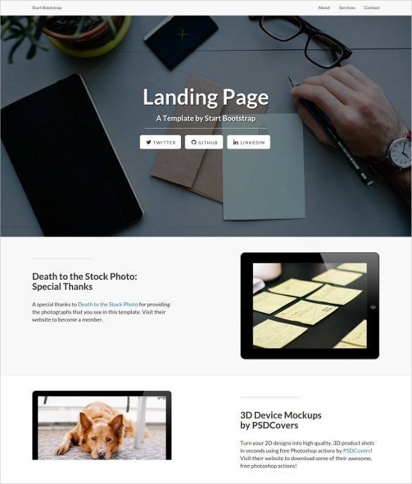 creative responsive bootstrap landing page theme download