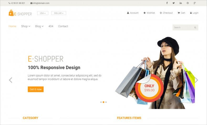 eshopper best free ecommerce html template 788x474