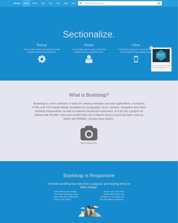 multi section single page bootstrap template free download