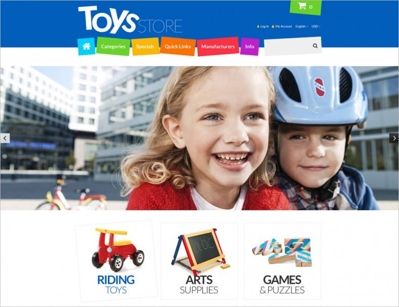 toys store zencart template 788x606