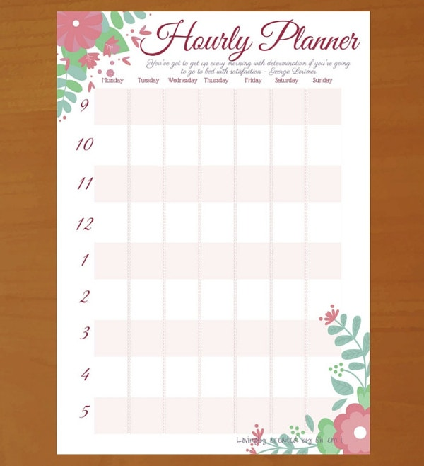 Hourly Planner Template   Free Psd Ai Eps Format Documents