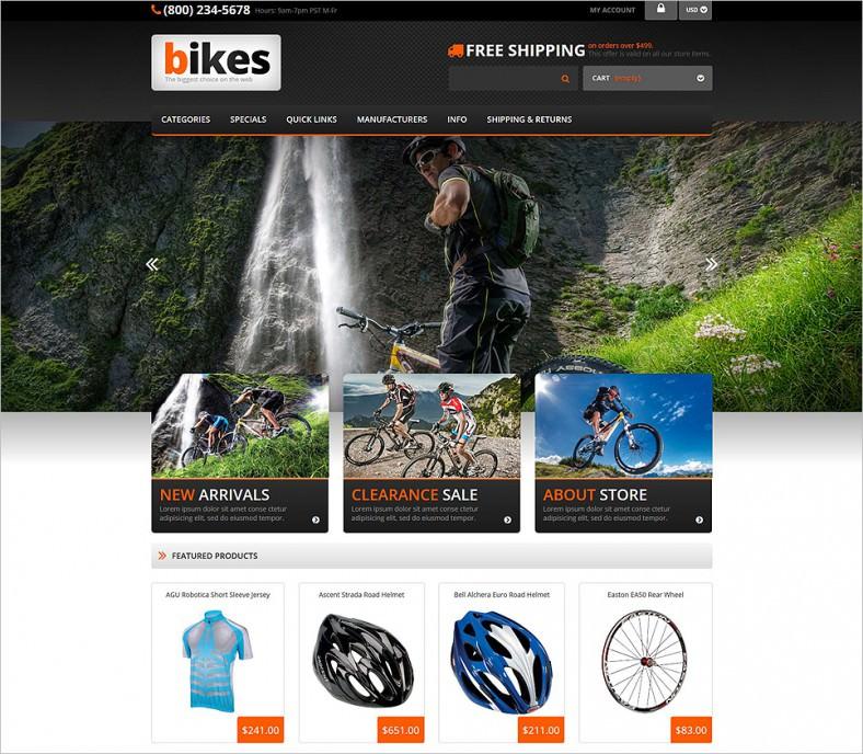cycling responsive zencart template 788x688