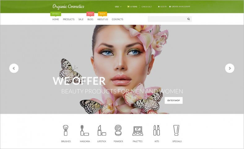 impressive parallax effect organic cosmetics shopify theme 139 free demo download