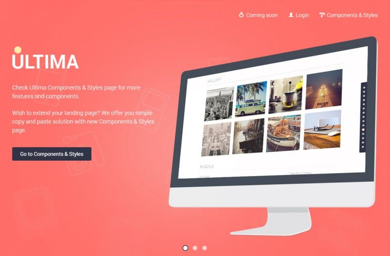 ultima awesome flat landing page 788x518