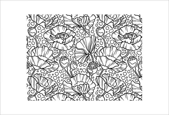 free printable poppies coloring page