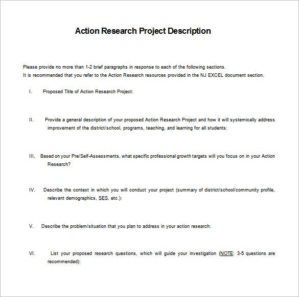 project research action plan word doc free downlaod