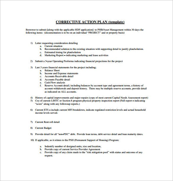 project corrective action plan pdf download