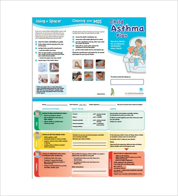 9 asthma action plan template doc excel pdf free for Asthma care plan template
