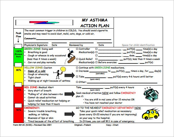 Asthma Action Plan Template 10 Free Word Excel PDF Format – Asthma Action Plan