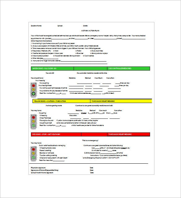 Asthma Action Plan Template   Free Word Excel Pdf Format