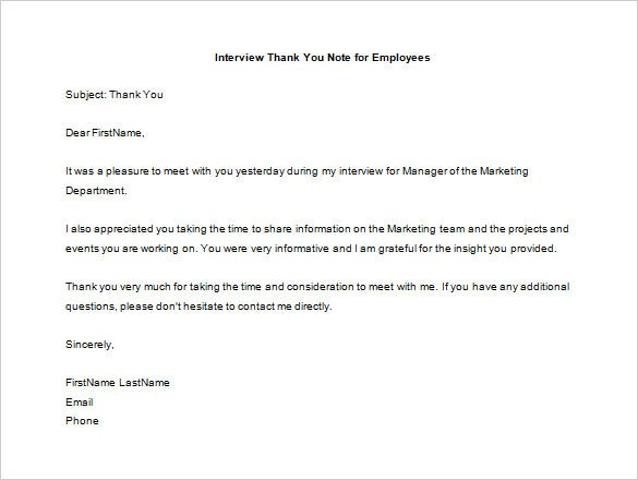 Interview Thank You Letter Sample. Follow Up Thank You Letter