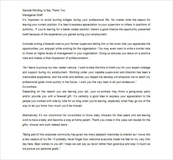 Wonderful Editable Employee Farewell Thank You Note Free Word Doc